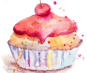 cake, cherry, and paint image