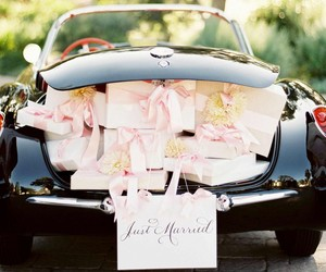 car, just married, and wedding image