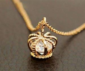 necklace, crown, and gold image