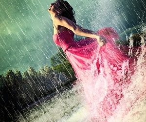 rain, girl, and pink image
