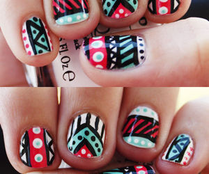 nails, tribal, and nail art image