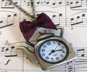 bow, clock, and music image