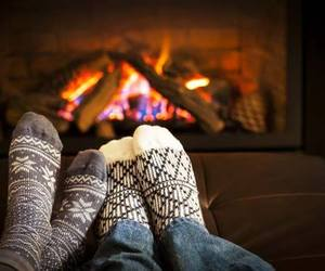 couple, fire, and socks image