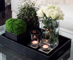 black, flowers, and candle image