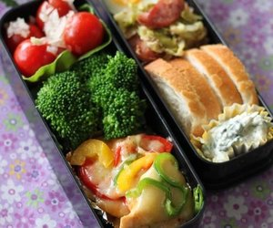 bento, bread, and food image