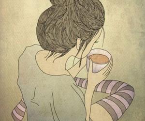 girl, tea, and coffee image