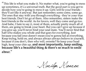 quote, life, and Marilyn Monroe image