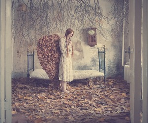 leaves, angel, and autumn image