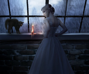 Halloween and girl. cat. candle image
