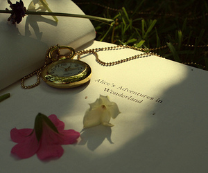 alice in wonderland, book, and flower image