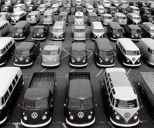car, black and white, and volkswagen image