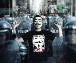 anonymous, disobey, and police image
