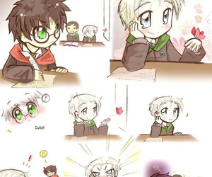 drarry, draco malfoy, and harry potter image