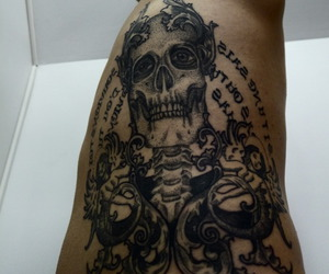 black and white, rococo, and skull image