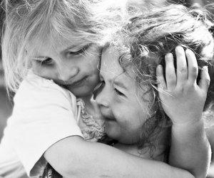 black and white, girls, and hug image