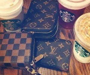 starbucks, Louis Vuitton, and bag image