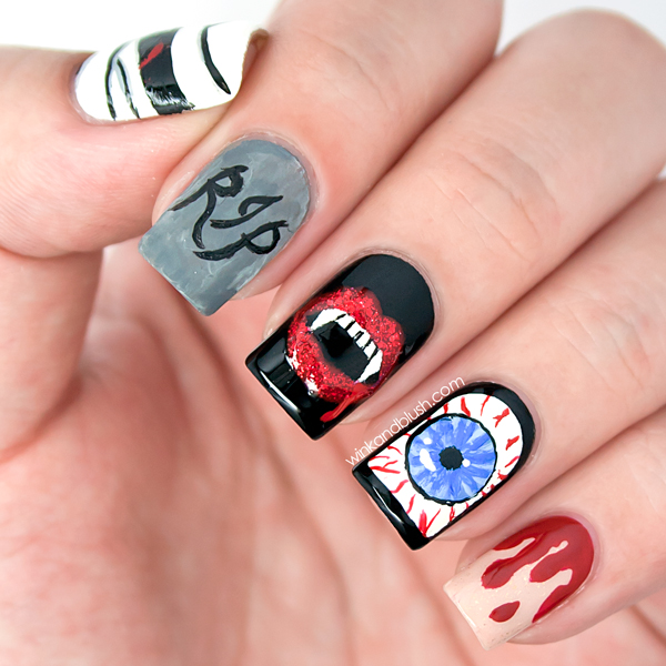 halloween nail art design wink and blush on we heart it