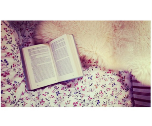 bed, book, and flowers image