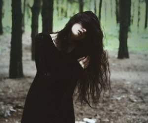 girl, black, and forest image