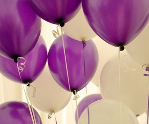 balloons, purple, and white image
