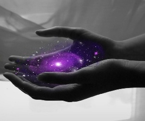 galaxy, hands, and purple image