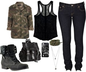 camo, outfit, and Polyvore image
