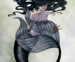 mermaid and black image