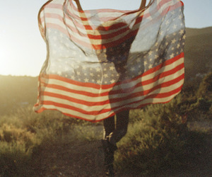 girl, usa, and flag image