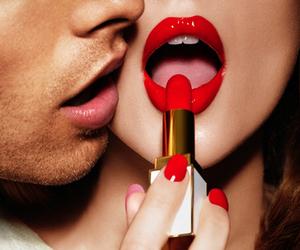 girl, guy, and lipstick image