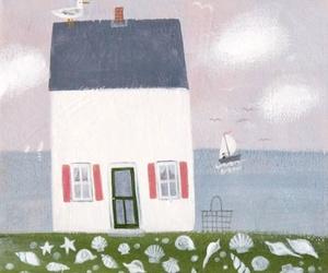beach, house, and illustration image