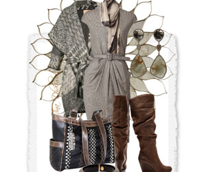 boots, grey dress, and sweater coat image