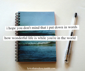 notebook, quote, and sea image