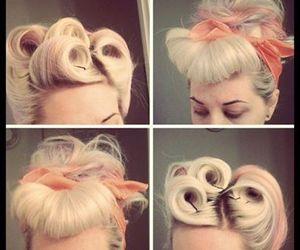 hair, blonde, and vintage image