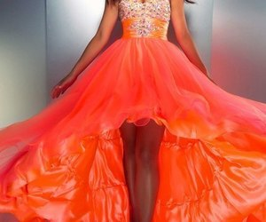 dress, orange, and Prom image