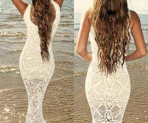 beach, dress, and hair image