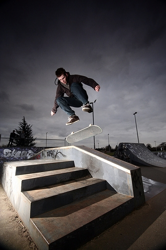 black and white, jump, and skate image