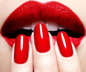 red, nails, and lips image