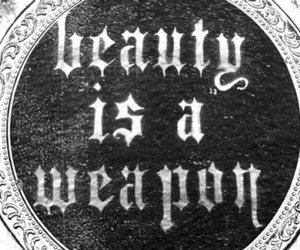 beauty, weapon, and text image