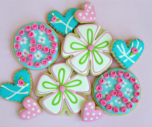 Cookies, flowers, and adorable image