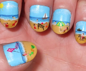 beach, nail art, and cool image