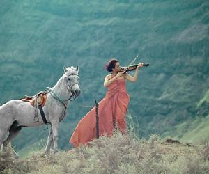 girl, horse, and music image