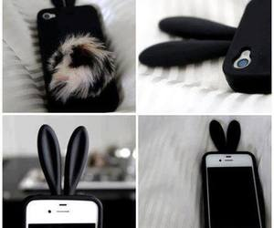 iphone, black, and bunny image
