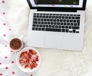 strawberry, food, and apple image