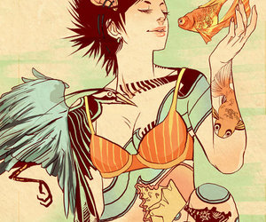 illustration, tattoo, and girl image