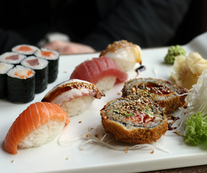 eating, food, and sushi image