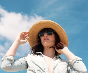 girl, sky, and hat image