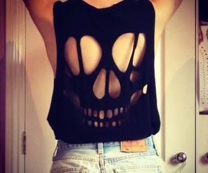 black, skull, and shirt image