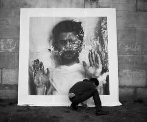 black and white, installation, and street art image