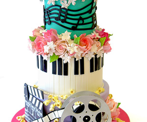 cakes, film, and flowers image