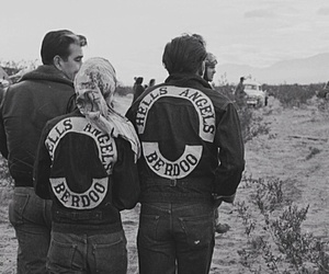 bikers, black and white, and Hells Angels image